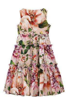 Детское хлопковое платье DOLCE & GABBANA светло-розового цвета, арт. L52DF0/HS5F8/2-6 | Фото 2
