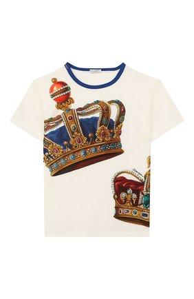 Детская хлопковая футболка DOLCE & GABBANA белого цвета, арт. L4JT6S/G7VJR/2-6 | Фото 1