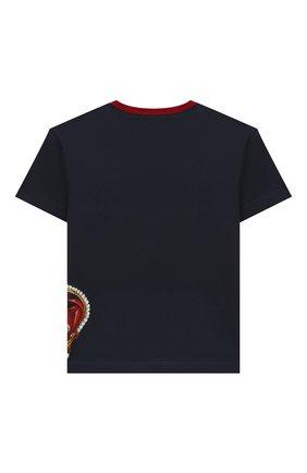 Детская хлопковая футболка DOLCE & GABBANA темно-синего цвета, арт. L4JT6S/G7VJR/2-6 | Фото 2