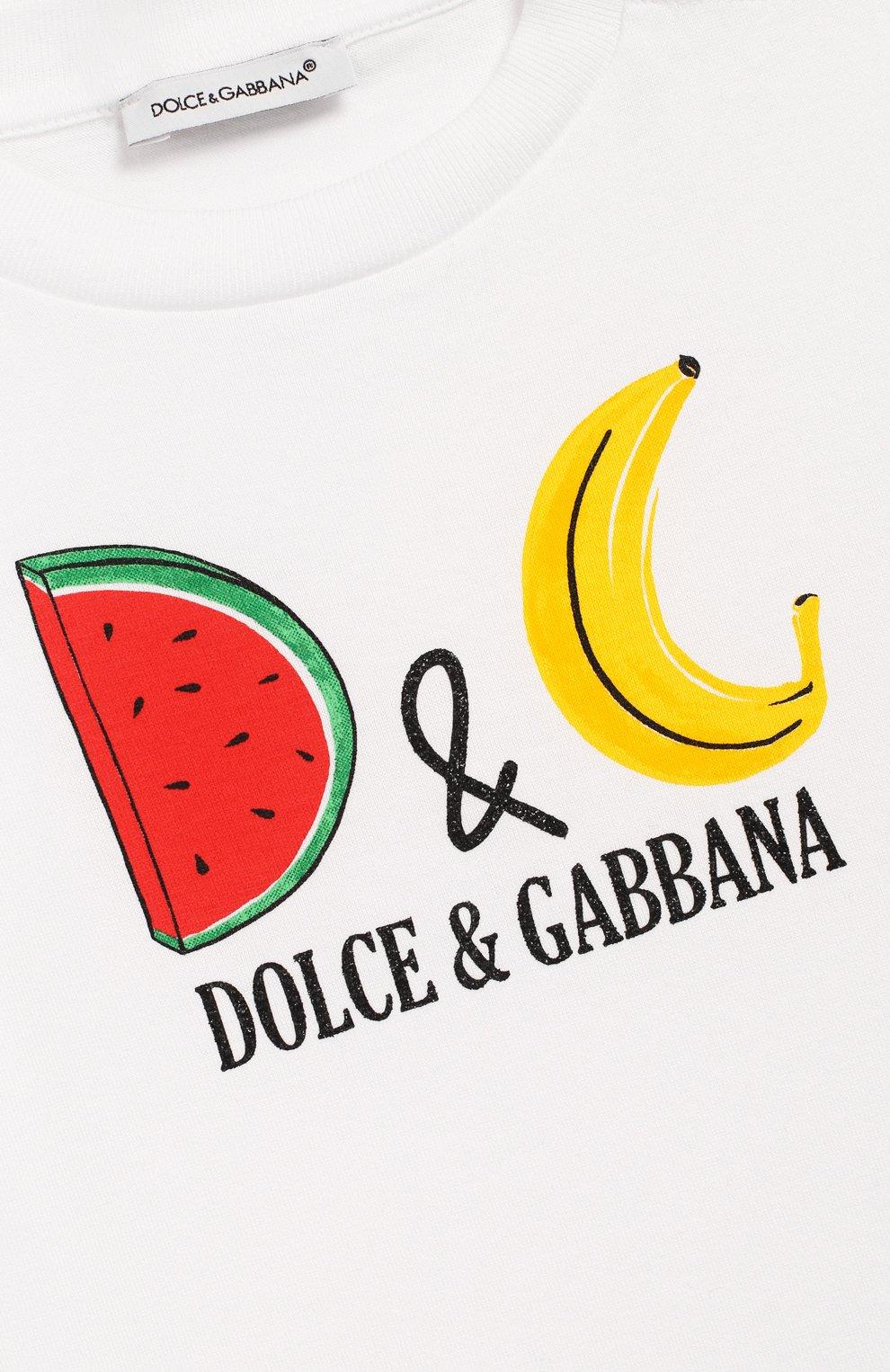 Детский хлопковая футболка DOLCE & GABBANA белого цвета, арт. L2JTAZ/G7WQT | Фото 3 (Рукава: Короткие; Материал внешний: Хлопок)