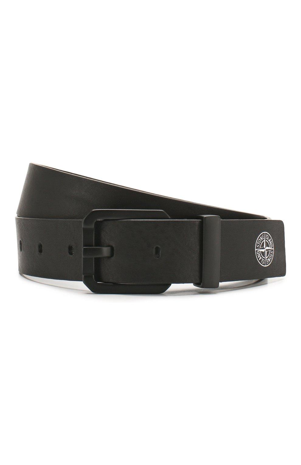 Мужской кожаный ремень STONE ISLAND черного цвета, арт. 721594273 | Фото 1