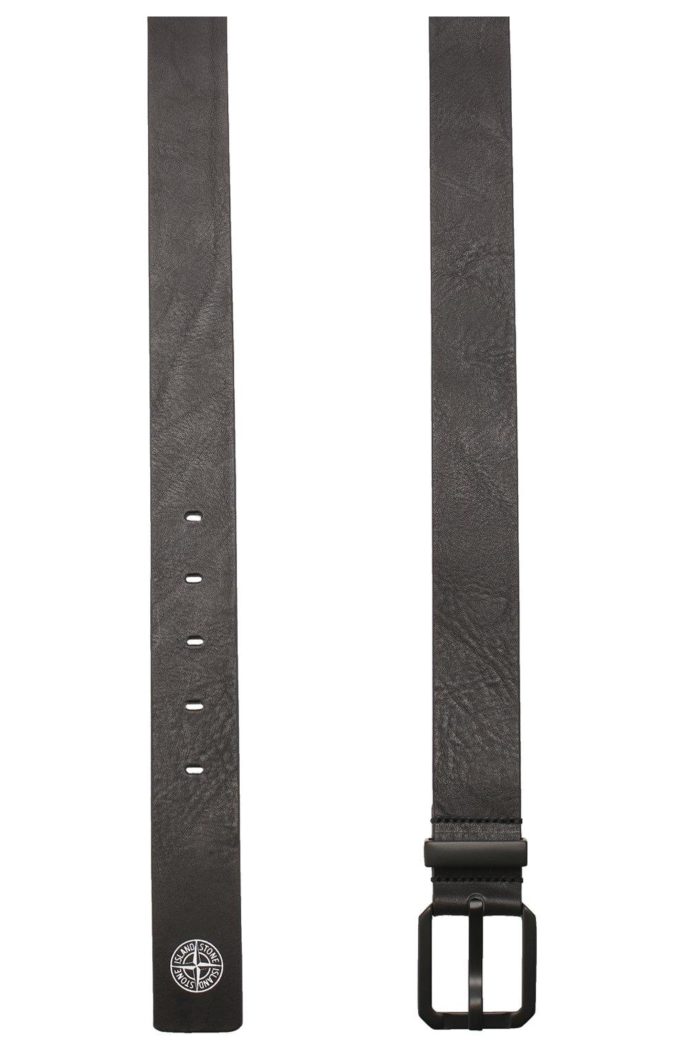 Мужской кожаный ремень STONE ISLAND черного цвета, арт. 721594273 | Фото 2