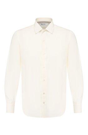 Мужская рубашка из смеси хлопка и шелка LORO PIANA кремвого цвета, арт. FAL1004 | Фото 1