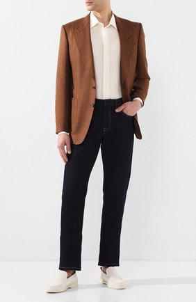 Мужская рубашка из смеси хлопка и шелка LORO PIANA кремвого цвета, арт. FAL1004   Фото 2