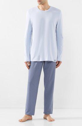Мужская хлопковая пижама HANRO голубого цвета, арт. 075111 | Фото 1