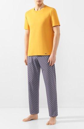 Мужские хлопковая футболка HANRO желтого цвета, арт. 075050 | Фото 2