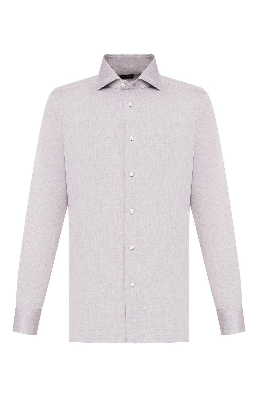 Мужская сорочка из смеси льна и хлопка ERMENEGILDO ZEGNA серого цвета, арт. 701602/9MS0BA   Фото 1