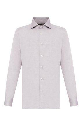 Мужская сорочка из смеси льна и хлопка ERMENEGILDO ZEGNA серого цвета, арт. 701602/9MS0BA | Фото 1