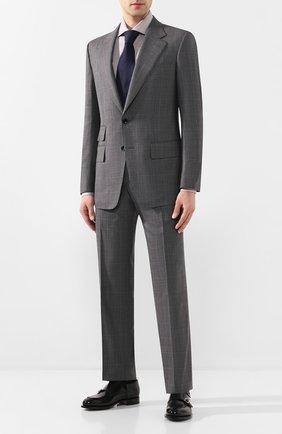 Мужская сорочка из смеси льна и хлопка ERMENEGILDO ZEGNA серого цвета, арт. 701602/9MS0BA | Фото 2