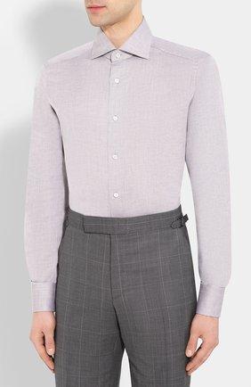 Мужская сорочка из смеси льна и хлопка ERMENEGILDO ZEGNA серого цвета, арт. 701602/9MS0BA   Фото 3