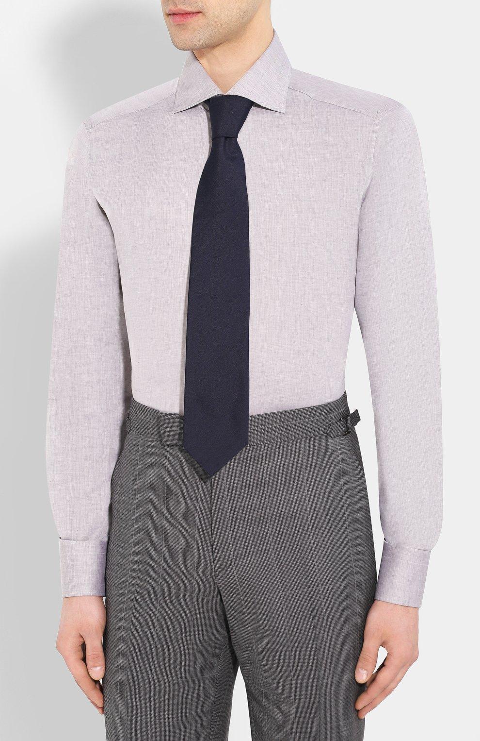 Мужская сорочка из смеси льна и хлопка ERMENEGILDO ZEGNA серого цвета, арт. 701602/9MS0BA   Фото 4