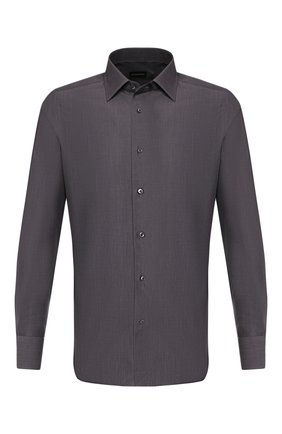 Мужская хлопковая сорочка ERMENEGILDO ZEGNA темно-серого цвета, арт. 701356/9MS0PA | Фото 1
