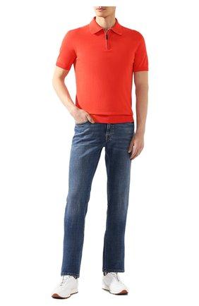 Мужское хлопковое поло BRIONI красного цвета, арт. UMS20L/08K01   Фото 2