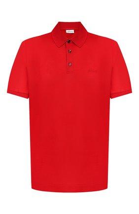 Мужское хлопковое поло BRIONI красного цвета, арт. UJDM0L/P9612   Фото 1 (Рукава: Короткие; Материал внешний: Хлопок; Длина (для топов): Стандартные; Застежка: Пуговицы)