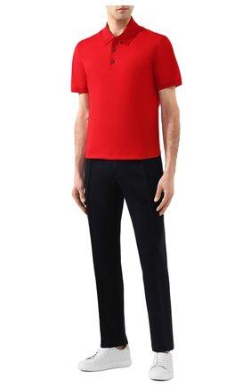 Мужское хлопковое поло BRIONI красного цвета, арт. UJDM0L/P9612   Фото 2 (Рукава: Короткие; Материал внешний: Хлопок; Длина (для топов): Стандартные; Застежка: Пуговицы)