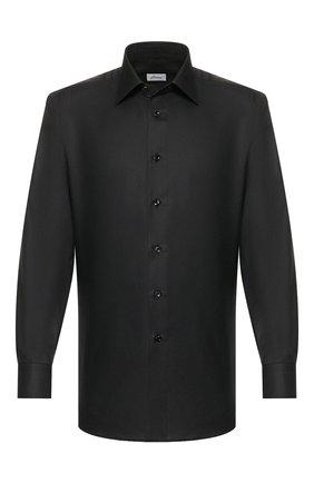 Мужская рубашка из смеси хлопка и шелка BRIONI черного цвета, арт. RCLU1U/0Z006 | Фото 1