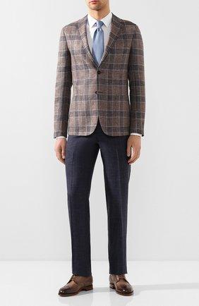 Мужские брюки из смеси шерсти и шелка LUCIANO BARBERA темно-синего цвета, арт. 114014/42705 | Фото 2