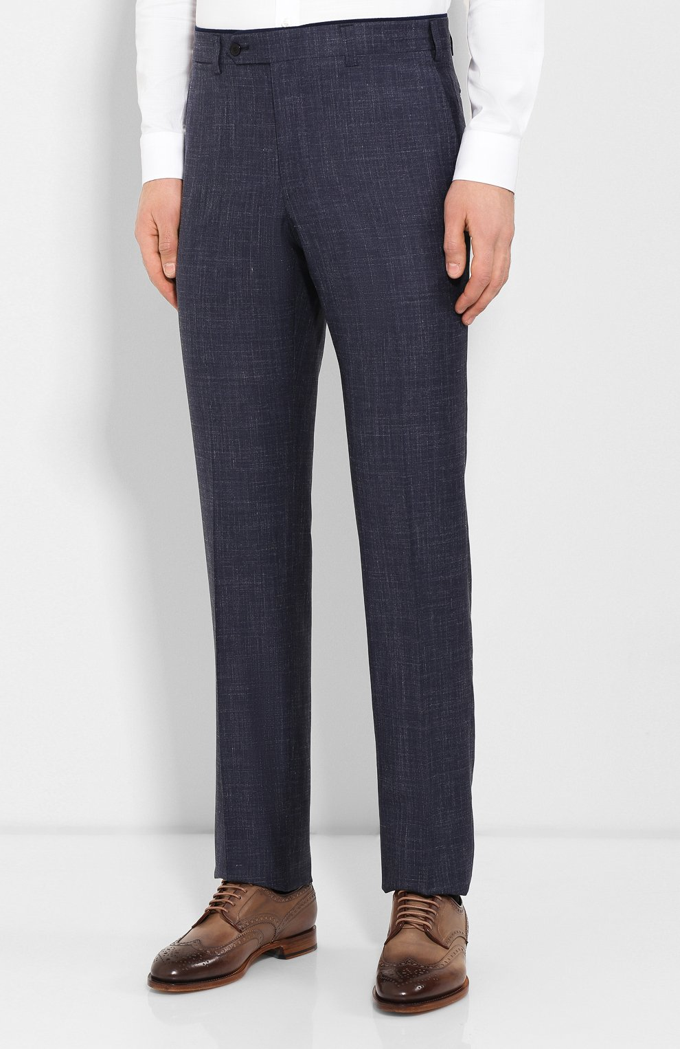 Мужские брюки из смеси шерсти и шелка LUCIANO BARBERA темно-синего цвета, арт. 114014/42705 | Фото 3