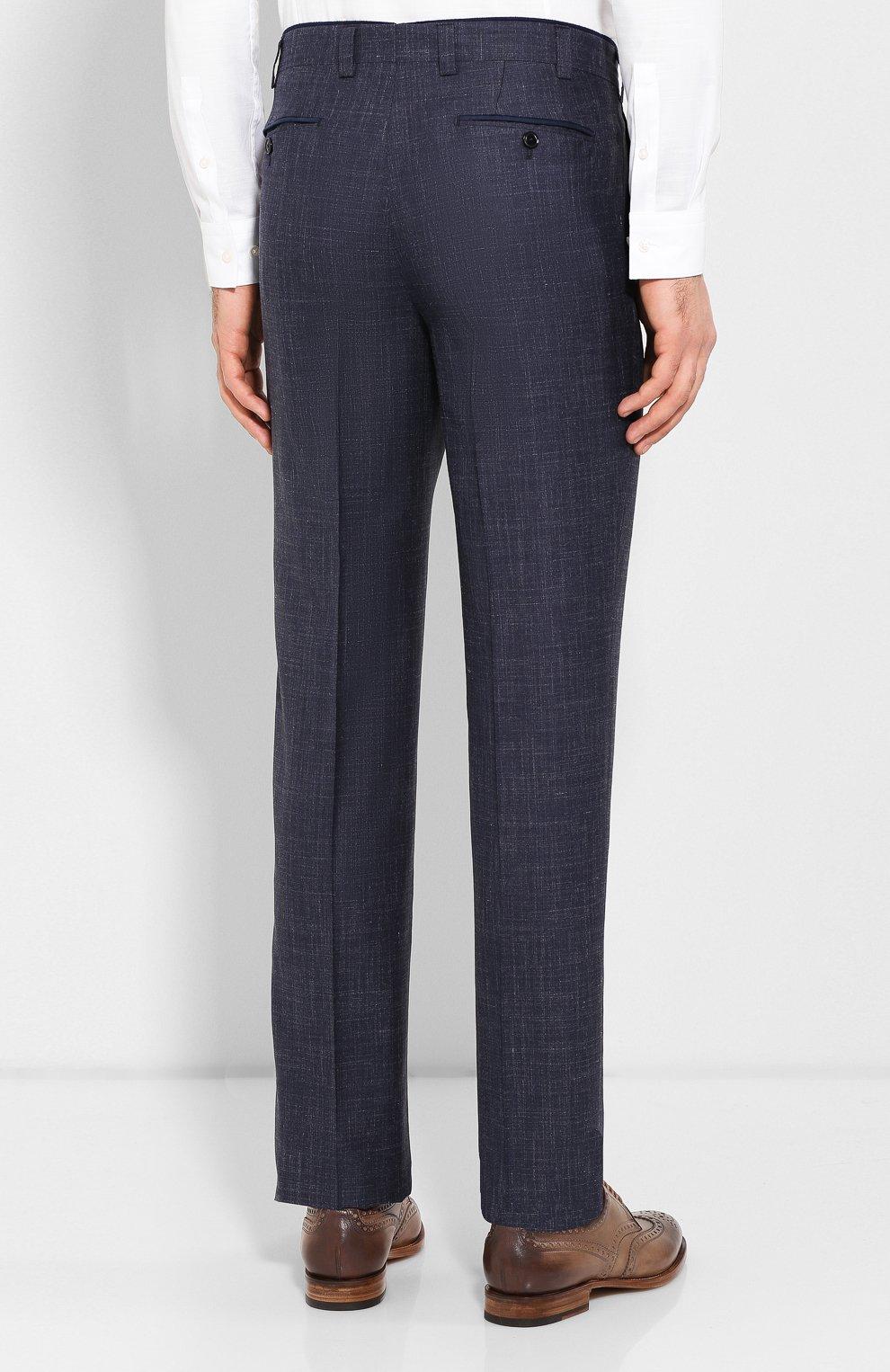 Мужские брюки из смеси шерсти и шелка LUCIANO BARBERA темно-синего цвета, арт. 114014/42705 | Фото 4