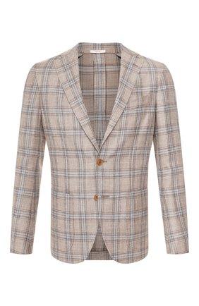 Мужской пиджак из смеси шерсти и шелка LUCIANO BARBERA бежевого цвета, арт. 111210PEL/15605 | Фото 1