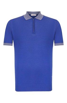 Мужское хлопковое поло LUCIANO BARBERA синего цвета, арт. 109G03/53341 | Фото 1