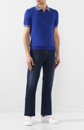 Мужское хлопковое поло LUCIANO BARBERA синего цвета, арт. 109G03/53341 | Фото 2