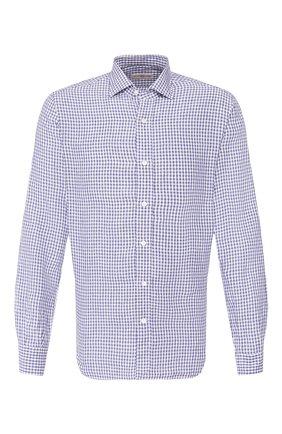 Мужская льняная рубашка LUCIANO BARBERA синего цвета, арт. 105489/72338 | Фото 1 (Рукава: Длинные; Материал внешний: Лен; Длина (для топов): Стандартные; Случай: Повседневный)