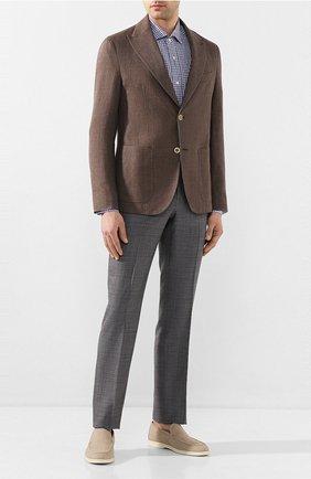 Мужская льняная рубашка LUCIANO BARBERA синего цвета, арт. 105489/72338 | Фото 2 (Рукава: Длинные; Материал внешний: Лен; Длина (для топов): Стандартные; Случай: Повседневный)