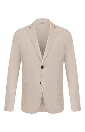 Мужской пиджак из смеси льна и хлопка GIORGIO ARMANI бежевого цвета, арт. 0SGGG0D9/T01FI   Фото 1