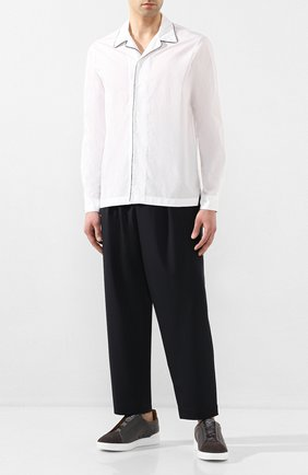 Мужская хлопковая рубашка GIORGIO ARMANI белого цвета, арт. 0SGCCZ29/TZ567 | Фото 2