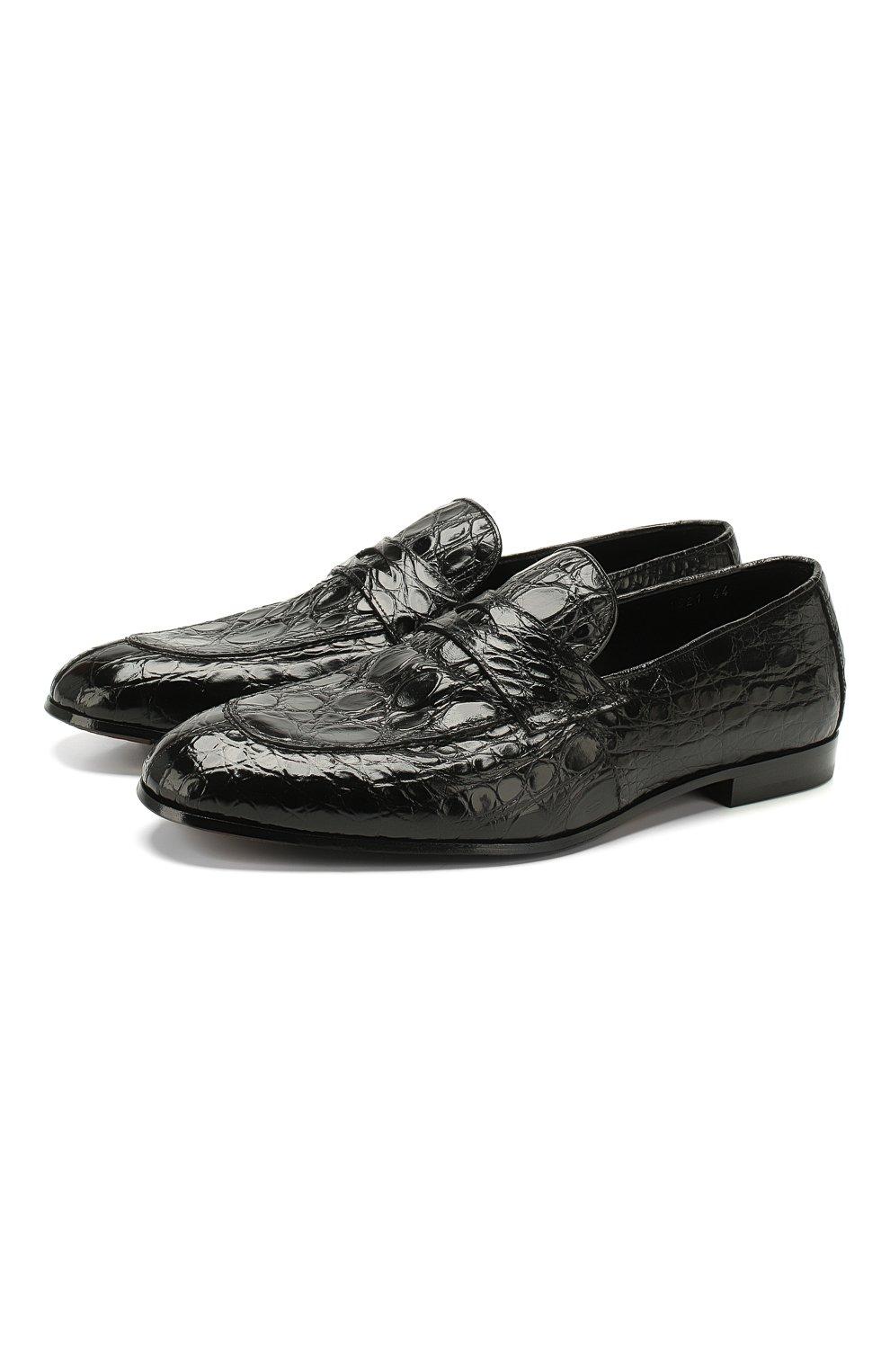 Мужские пенни-лоферы из кожи каймана DOUCAL'S черного цвета, арт. DU1621PANAUF035NN00/CYAC | Фото 1