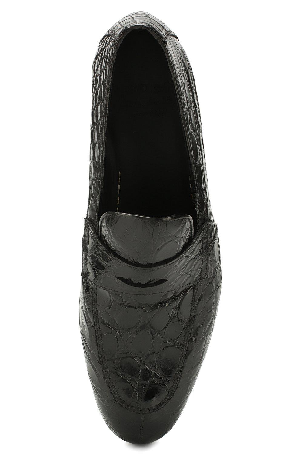 Мужские пенни-лоферы из кожи каймана DOUCAL'S черного цвета, арт. DU1621PANAUF035NN00/CYAC | Фото 5