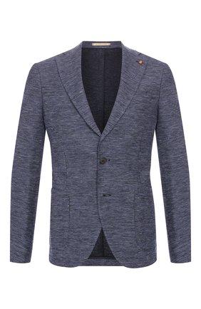 Мужской пиджак из смеси хлопка и льна SARTORIA LATORRE синего цвета, арт. JF74 JE2123 | Фото 1