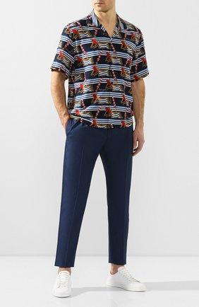 Мужские брюки из смеси хлопка и шелка DOLCE & GABBANA темно-синего цвета, арт. GW1WET/FU5SW   Фото 2