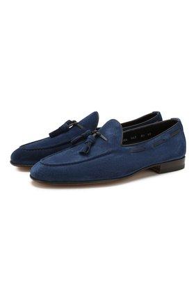 Мужские замшевые лоферы SANTONI темно-синего цвета, арт. MCNC13904LA3SR0VU43   Фото 1