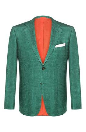 Мужской пиджак из смеси кашемира и шелка KITON зеленого цвета, арт. UG81K06S18 | Фото 1