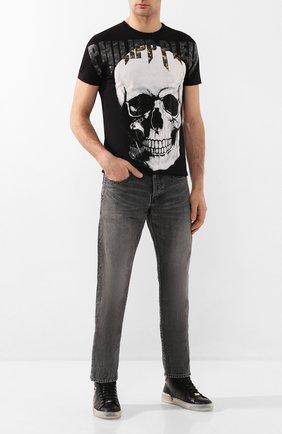 Мужские кожаные кеды PHILIPP PLEIN черного цвета, арт. S20S MSC2738 PLE075N | Фото 2