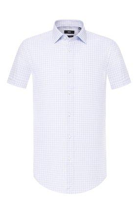 Мужская хлопковая сорочка BOSS голубого цвета, арт. 50428401 | Фото 1