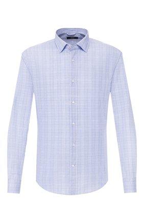 Мужская сорочка из смеси хлопка и льна BOSS голубого цвета, арт. 50429050 | Фото 1