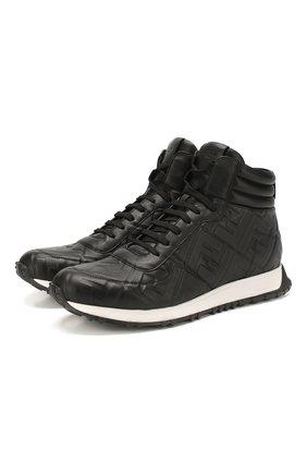 Мужские кожаные кроссовки FENDI черного цвета, арт. 7E1336 AADS | Фото 1