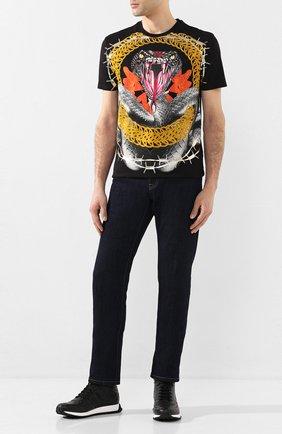 Мужские кожаные кроссовки FENDI черного цвета, арт. 7E1336 AADS | Фото 2