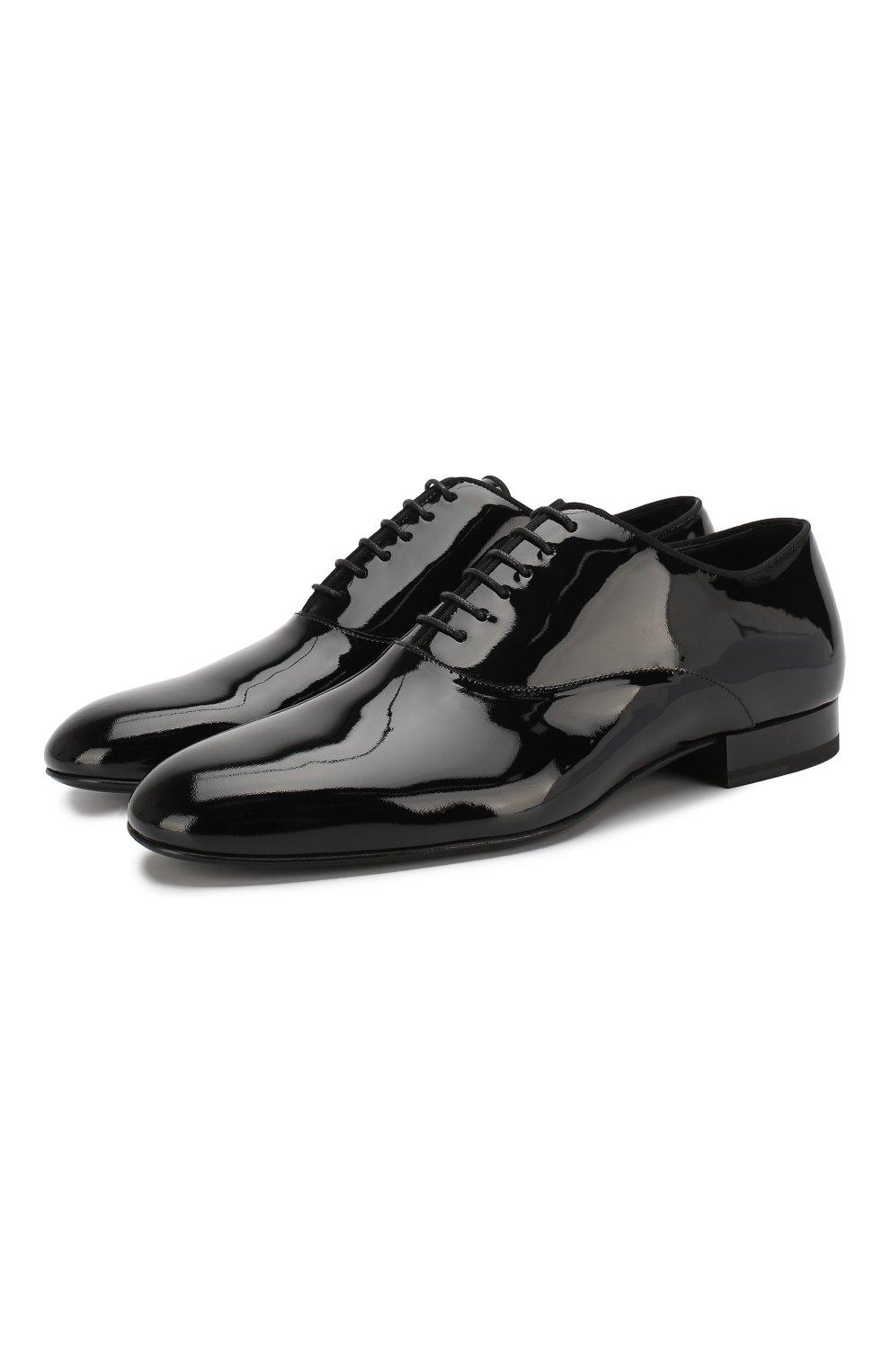 Мужские кожаные оксфорды SAINT LAURENT черного цвета, арт. 607931/0D500 | Фото 1