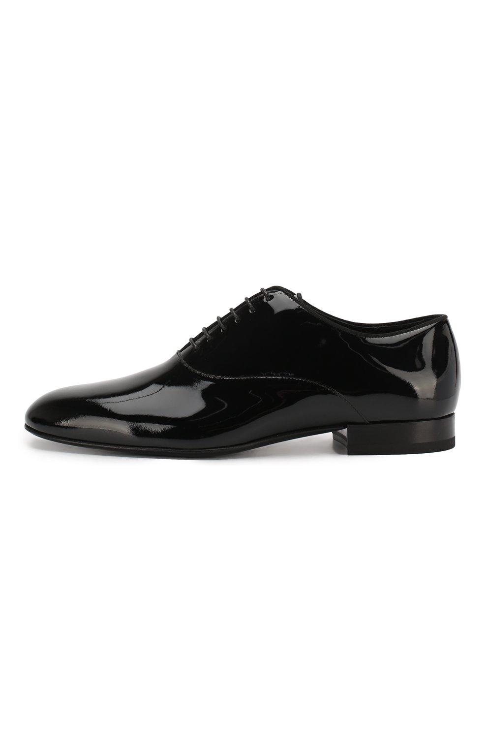Мужские кожаные оксфорды SAINT LAURENT черного цвета, арт. 607931/0D500 | Фото 3