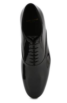Мужские кожаные оксфорды SAINT LAURENT черного цвета, арт. 607931/0D500 | Фото 5