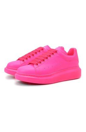 Женские кожаные кеды ALEXANDER MCQUEEN розового цвета, арт. 558943/W4LY1 | Фото 1 (Материал внутренний: Натуральная кожа; Подошва: Платформа)