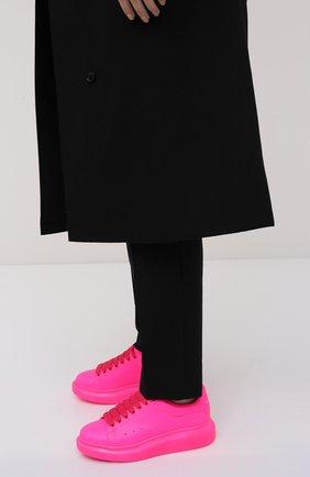 Женские кожаные кеды ALEXANDER MCQUEEN розового цвета, арт. 558943/W4LY1   Фото 2