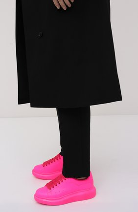 Женские кожаные кеды ALEXANDER MCQUEEN розового цвета, арт. 558943/W4LY1 | Фото 2 (Материал внутренний: Натуральная кожа; Подошва: Платформа)