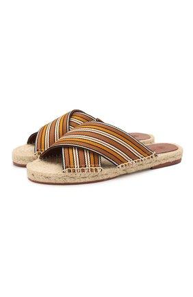 Женские текстильные шлепанцы suitcase stripe LORO PIANA коричневого цвета, арт. FAL1150   Фото 1