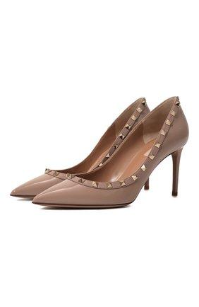 Женская кожаные туфли valentino garavani rockstud VALENTINO бежевого цвета, арт. TW0S0A04/VNW | Фото 1