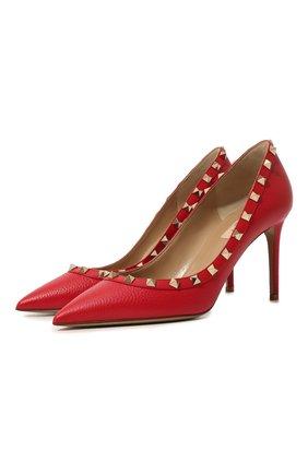 Женская кожаные туфли valentino garavani rockstud VALENTINO красного цвета, арт. TW0S0A04/VCE | Фото 1